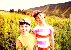 kids wearing headlamps