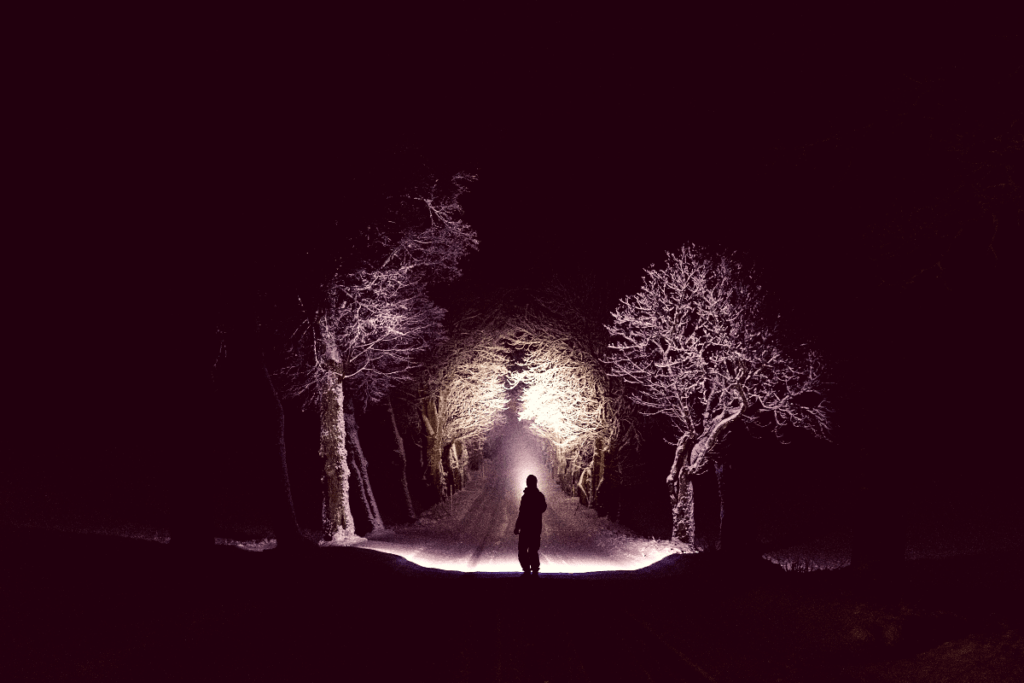man walking in woods in winter