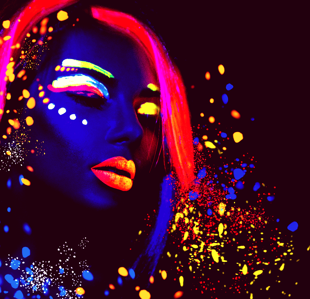 Dancer in UV paint
