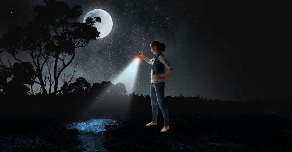 flashlight fun under the moon